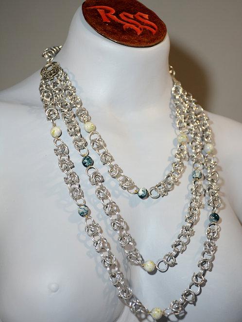 Byzantine Chainmail 3 Strand Drape Necklace accessory jewelry