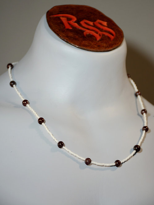 Ruby Beads & White Glass Necklace accessory jewelry