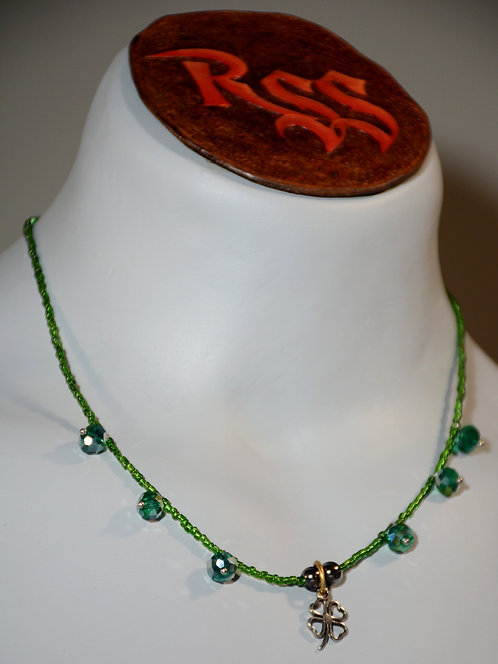 Four Leaf Clover on Green with Accent Drops Necklace accessory jewelry