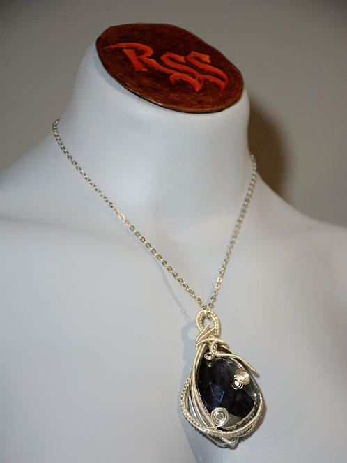 Smoky Glass Wrapped with Tarnish Resistant Silver Tone Wire accessory