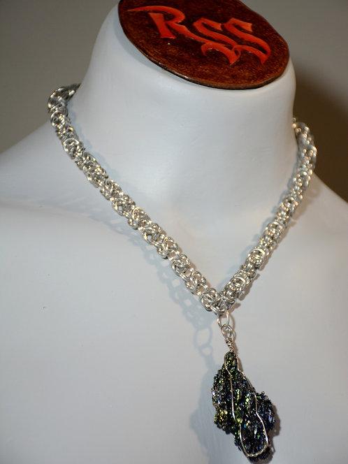Byzantine Chainmail Necklace & Raw Hematite by Red Stick Studio