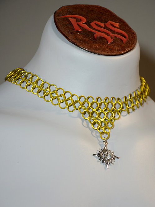Yellow Chainmail w/ Sun Pendant Necklace accessory jewelry