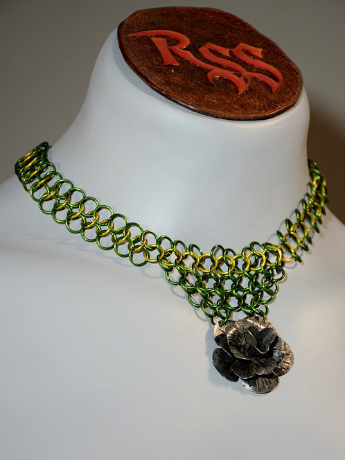 Green / Yellow Chainmail w/ Flower Necklace accessory jewelry