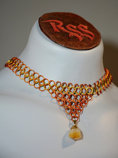 Orange & Yellow Anodized Aluminum Chainmail w/ Raw Citrine by Red Stick Studio