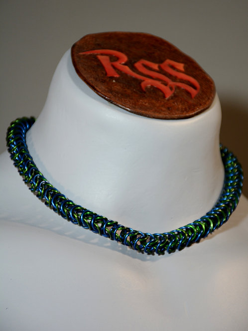 Green & Blue Anodized Aluminum Chainmail Necklace by Red Stick Studio