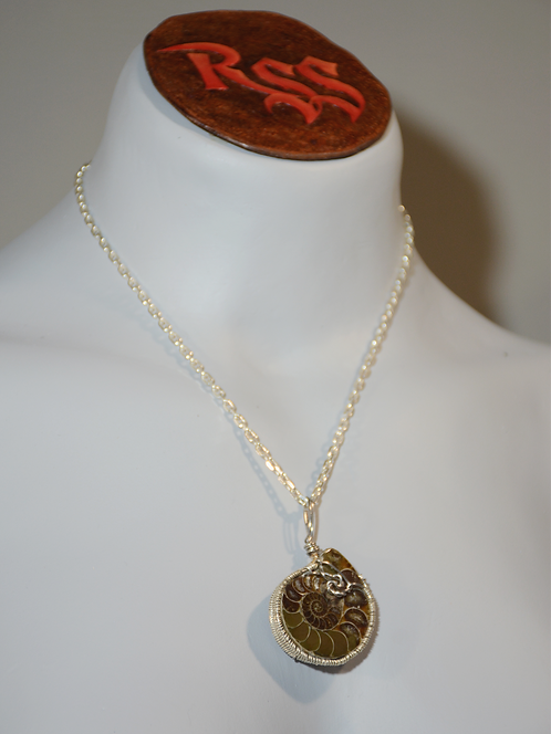 Polished Ammonite Half,Tarnish Resistant Silver Wire by Red Stick Studio