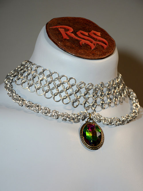 Chainmail Choker & Multi Colour Glass Pendant Necklace accessory jewelry