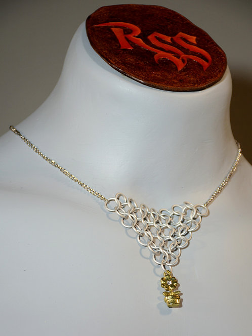 Chain with Chainmail Triangle: Ice White & Flower Dangle by Red Stick Studio