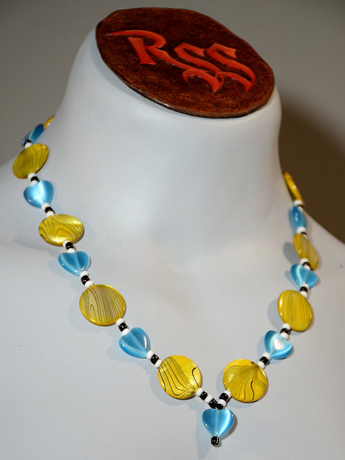 Yellow Coin Shells and Blue Glass Hearts by Red Stick Studio