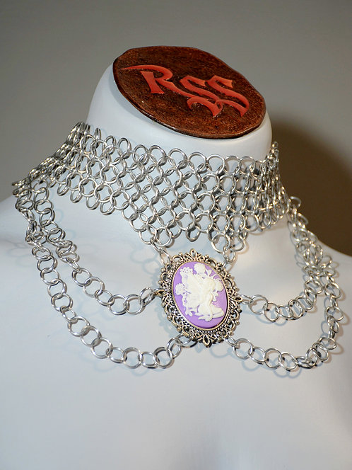 Shiny Chainmail Choker & Cameo Necklace accessory jewelry