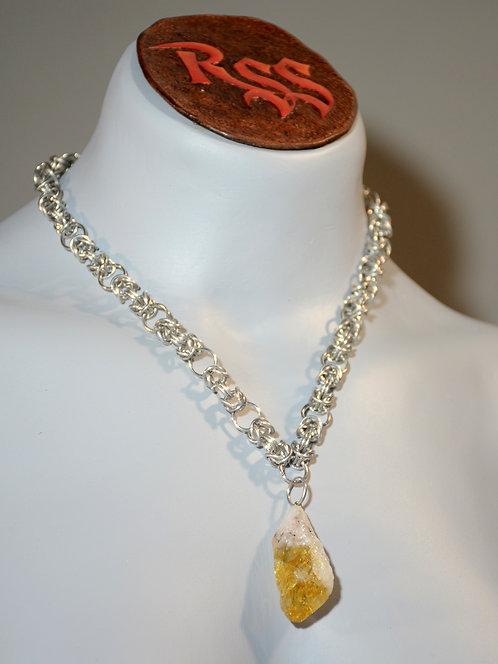 Byzantine Chainmail & Raw Citrine Pendant Necklace accessory jewelry