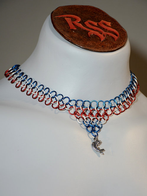Blue/Red/Ice Anodized Aluminum Chainmail w/ Fish Pendant by Red Stick Studio