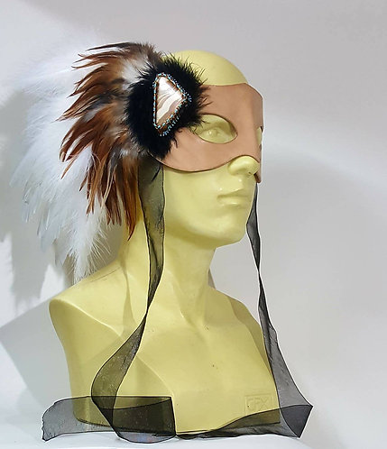 OOAK Feather Crest Leather Masquerade / Costume Mask