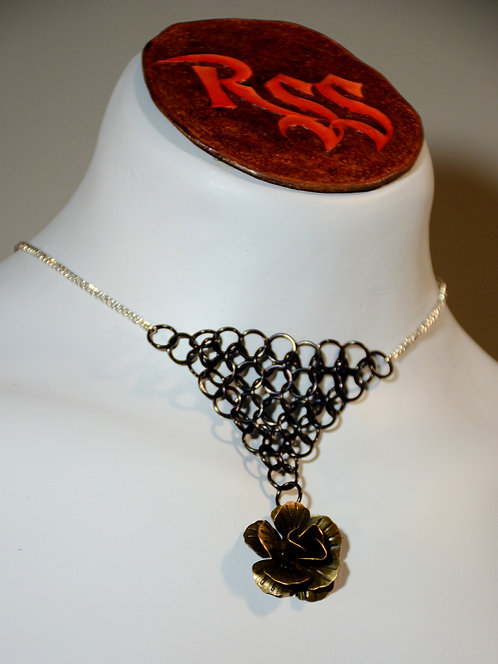 Chain with Chainmail Triangle: Black with Flower Dangle jewelry accessory