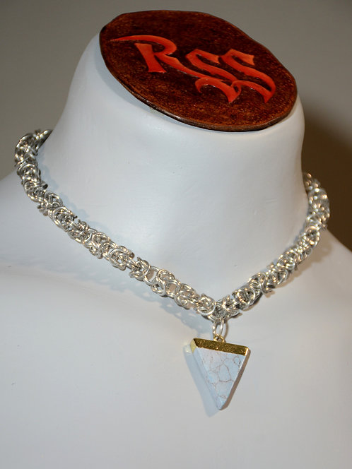 Byzantine Chainmail and Pale Blue Stone Triangle Necklace accessory jewelry