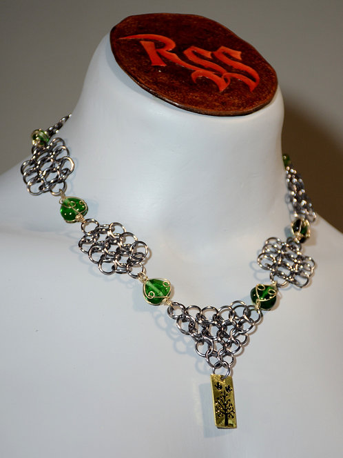 Black Ice Chainmail, Green Glass & Golden Tree Pendant by Red Stick Studio
