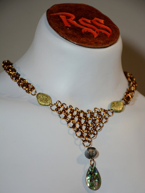 Bronze Anodized Aluminum Chainmail, Vintage Beads w/Abolone by Red Stick Studio