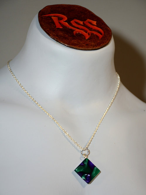 Recycled Acrylic Pendant: Green, Purple and Black by Red Stick Studio