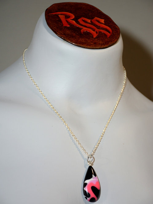 Recycled Acrylic Pendant: Pink, Black & White by Red Stick Studio