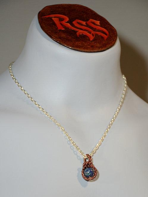 Azurite Stone, Tarnish Resistant Copper Wrapped Pendant