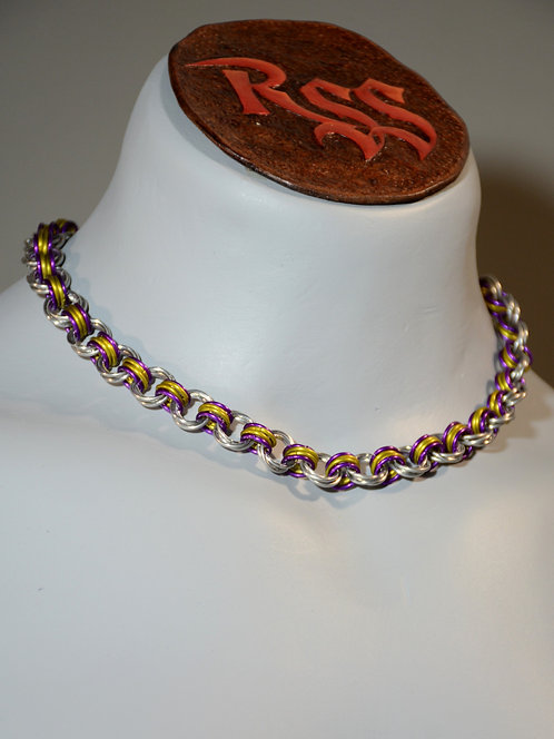 Purple / Yellow / Silver Mobius Chainmail Necklace accessory jewelry