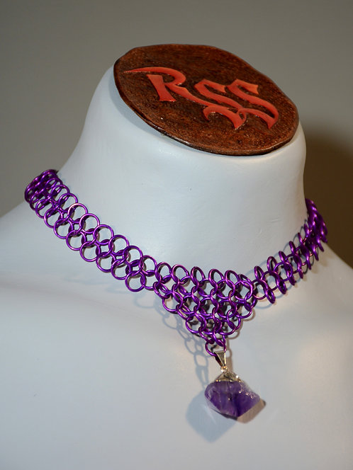 Purple Anodized Chainmail Necklace & Raw Amethyst