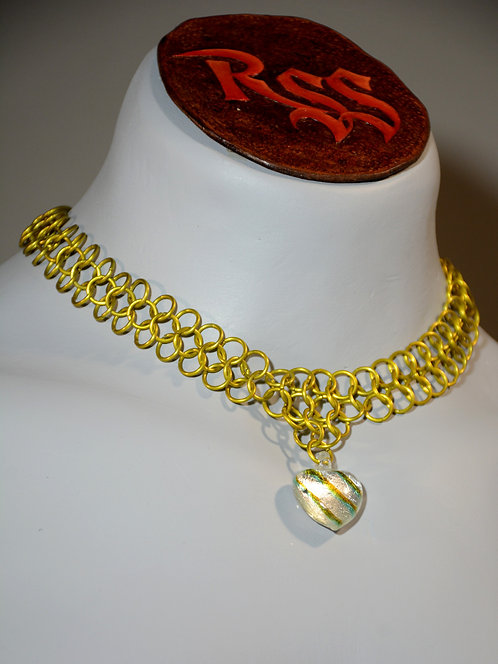 Yellow Anodized Aluminum Chainmail & Glass Heart by Red Stick Studio