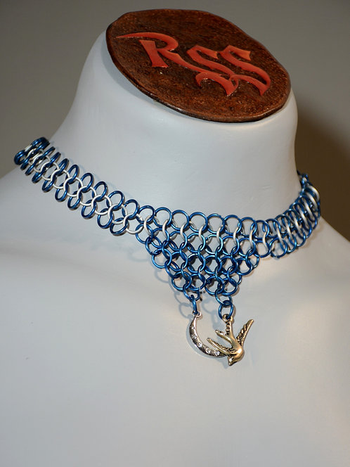 Blue / Ice Chainmail & Moon w/ Bird  Necklace accessory jewelry