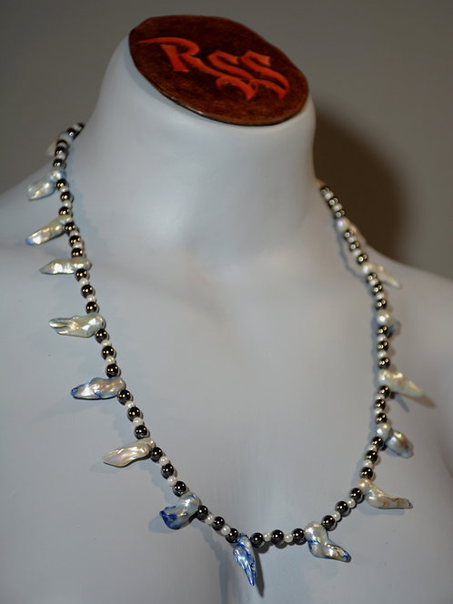 Hematite with Freshwater Pearls by Red Stick Studio
