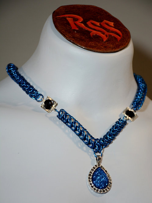 Blue Anodized Aluminum Chainmail Necklace accessory jewelry