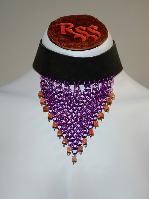 Recycled Leather Choker: Black Leather Purple and Goldstone jewelry accessory