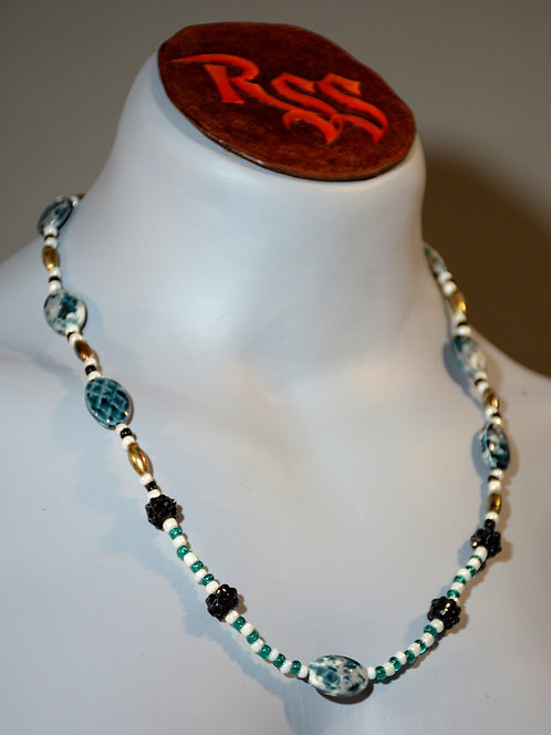 Ceramic Oval & Glass Bead Necklace by Red Stick Studio