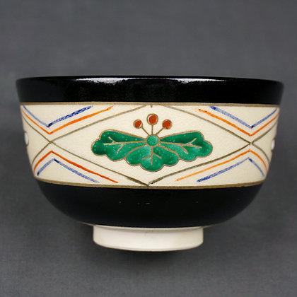 仁清黒 菊桐絵茶碗