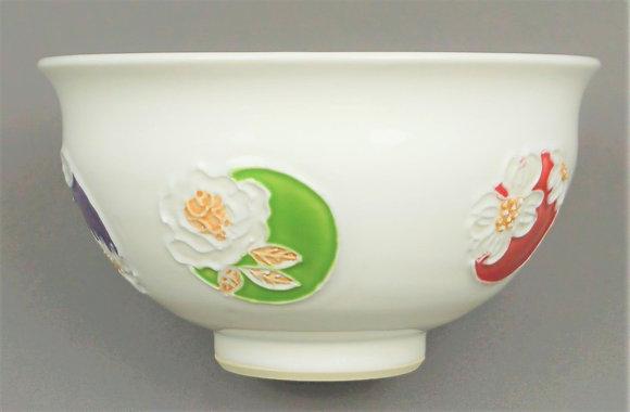 交趾 五色花丸文茶碗 南山窯