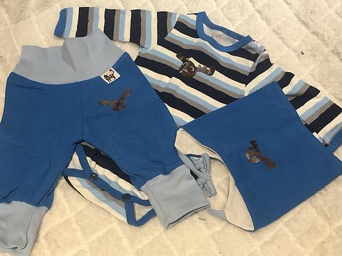 Gavesett til baby, blått - elg og striper