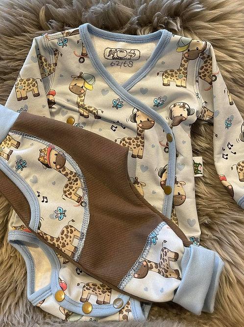 Gavesett omslagsbody med giraffer og bukse i ribbjersey med detaljer