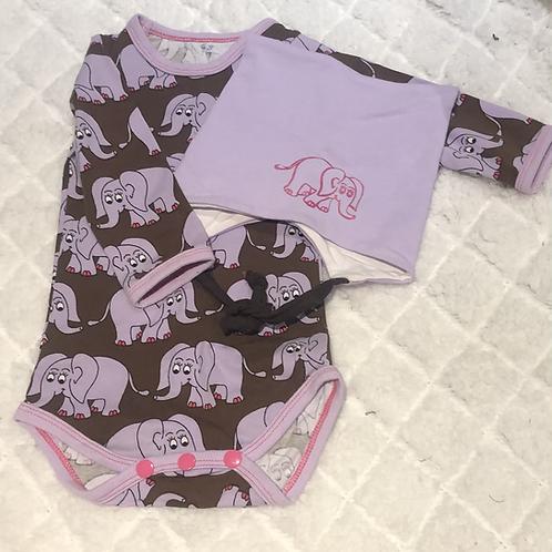 Gavesett til baby,  lilla, brunt og rosa - elefantmotiv