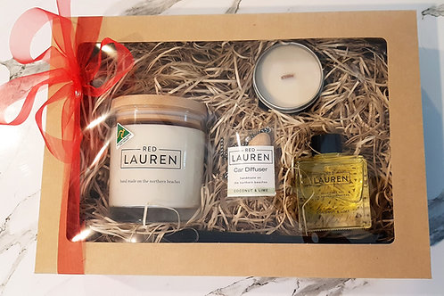 Gift Box with 2 Candles, Diffuser and Car Diffuser