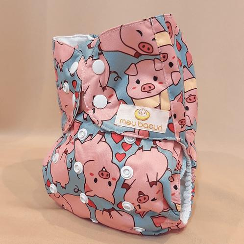 Fralda de pano porquinho rosa
