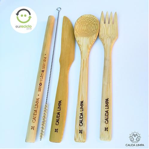 Talheres de Bambu + Canudo+ Escova