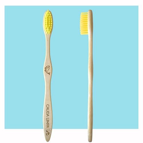 Escova infantil de bambu - amarela