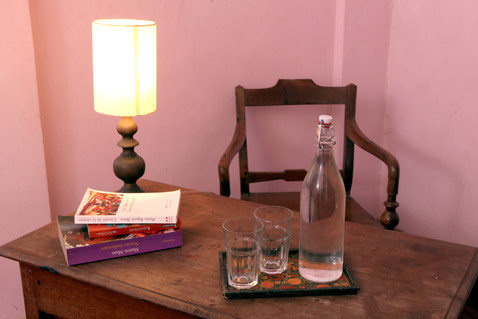 Book desk writting water Bed and Breakfast Holy Chic homes la vie en rose pondicherry india interior design style french quarters colonial architecture true vintage traditional agathe lazaro