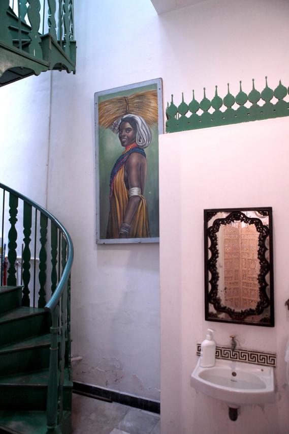 stair case spiral green wood freench colonial chettinaddesign interiorsHoly Chic Homes La Vie en Rose Pondicherry India agathe lazaro