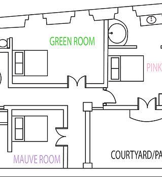 Floor Plan - Bedrooms - 1st floor holy chic home la vie en rose la maison rose vacation rental style agthe lazaro