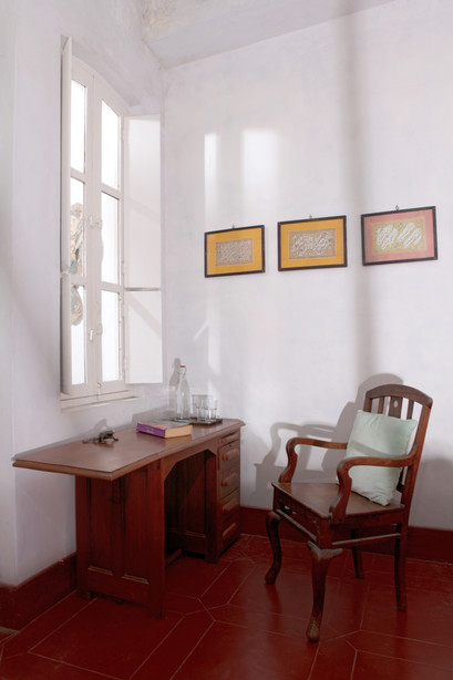 writer's desk windows calligraphy painting collection window viewBed and Breakfast Holy Chic homes la vie en rose pondicherry india interior design style french quarters colonial architecture true vintage traditional agathe lazaro