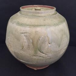 wide covered vase