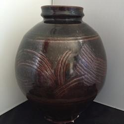 Tenmoku wide vase