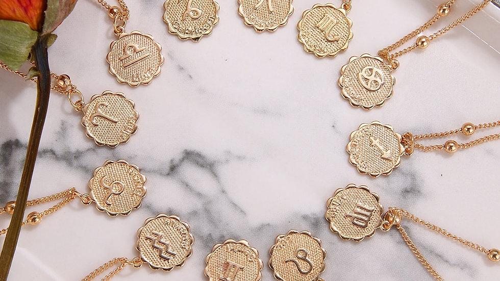 Twelve Horoscope Coin Necklace Women Gold