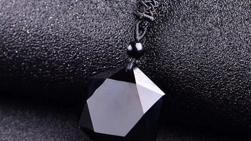 Natural Stone Black Obsidian Six Awn Star
