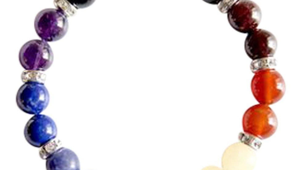 7 Chakras Sterling Silver Silver Bracelet